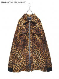 【SHINICHI SUMINO】<br>LEOPARD ZIP UP BIG SHIRT JACKET