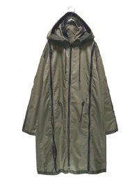 【USED】<br>ZIP DESIGN HOODED NYLON COAT