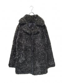 【USED】<br>BLACK LEOPARD FUR COAT