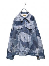 【USED】<br>TRANSCRIPTION PRINT<br>DESIGN DENIM JACKET
