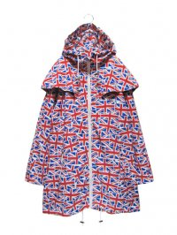 【USED】<br>UNION JACK PATTERN<BR>NYLON HOODED COAT