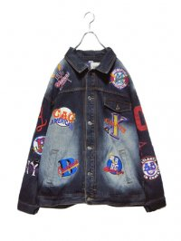 【USED】<br>''NEGRO LEAGUE''<br>TEAM LOGO EMBROIDERY BIG DENIM JACKET