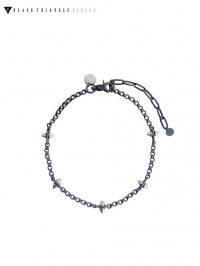 【BLACK TRIANGLE DESIGN】<br>SPIKE & industrial chain short necklace / matt black × grey