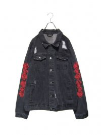 【USED】<br>ROSE EMBROIDERY DAMAGE DENIM JACKET