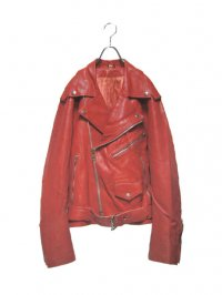 【USED】<br>RED LEATHER DOUBLE RIDERS JACKET