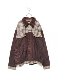 【USED】<br>BURBERRY CHECK SWITCHING  BIG DENIM JACKET