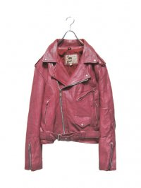【USED】<br>MAGENTA COLOR LEATHER DOUBLE RIDERS JACKET