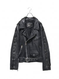 【USED】<br>LACE UP DESIGN LEATHER DOUBLE RIDERS JACKET