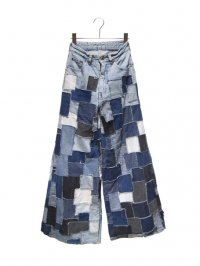【USED】<br>PATCHWORK WIDE & FLARE DENIM PANTS