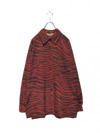 【USED】<br>RED ZEBRA PATTERN LONG SLEEVE SHIRT