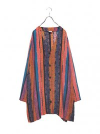 【USED】<br>PSYCHEDELIC PATTERN RAYON LONG CARDIGAN