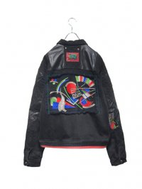 【USED】<br>90's ''MAJOR DAMAGE'' LEATHER SWITCHING<BR>EMBROIDERY DENIM JACKET