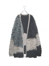 【USED】<br>SWITCHING DESIGN MOP KNIT BIG CARDIGAN