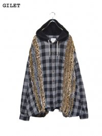 【GILET】<br>LEOPARD COLLAGE HOODED WIDE SHIRT (C)