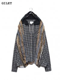 【GILET】<br>LEOPARD COLLAGE HOODED WIDE SHIRT (B)