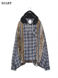 【GILET】<br>LEOPARD COLLAGE HOODED WIDE SHIRT (A)