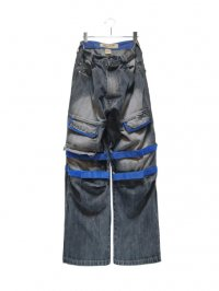 【USED】<br>DENIM SHUTTLE BAGGY PANTS