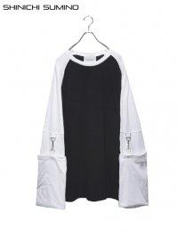 【SHINICHI SUMINO】<br>RAGLAN MUSLIN LONG SLEEVE Tee / BLACK × WHITE