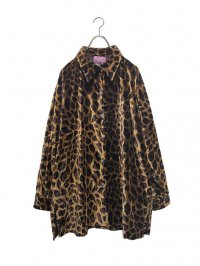 【USED】<br>LEOPARD PATTERN VELOUR BIG LONG SLEEVE SHIRT