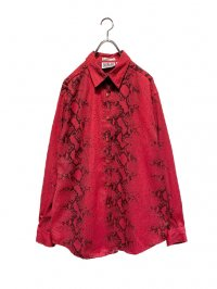 【USED】<br>RED PYTHON PATTERN LONG SLEEVE SHIRT