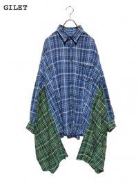 【GILET】<br>DOUBLE FLANNEL SHIRT / BLUE (B)
