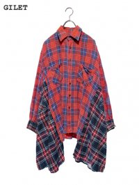 【GILET】<br>DOUBLE FLANNEL SHIRT / RED (B)
