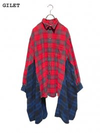 【GILET】<br>DOUBLE FLANNEL SHIRT / RED (A)