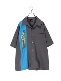 【USED】<br>PINUP GIRL GRAPHIC OPEN COLLAR SHIRT