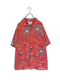【USED】<br>TIGER × DRAGON JAPANESE PATTERN OPEN COLLAR SHIRT