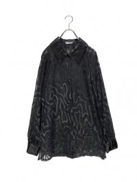 【USED】<br>BLACK WAVE PATTERN SEE-THROUGH SHIRT