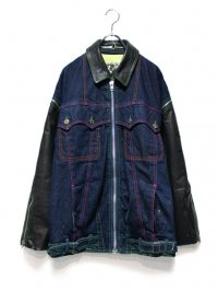 【USED】<br>LEATHER SWITCHING DENIM JACKET