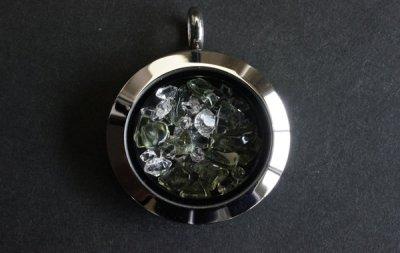 ハーキマーダイアモンド/モルダバイト  ペンダント Herkimer Diamond /Moldavite Pendant