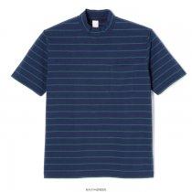 ボーダー モックネック 半袖Tシャツ