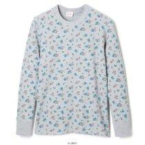 花柄プリント ベーシックワッフルクルーネック長袖Tシャツ