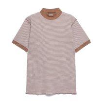 ベーシックワッフル モックネック 半袖Tシャツ【ボーダー】