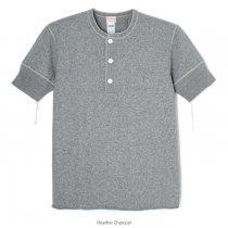 ヴィンテージヘザースラブ ヘンリーネック 半袖Tシャツ