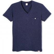 スラブ Vネック 半袖ポケットTシャツ