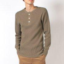 【定番商品】#990 スーパーヘビーワッフル ヘンリーネック 長袖Tシャツ
