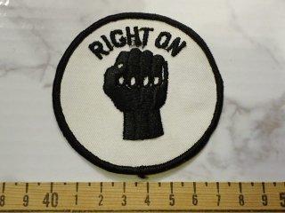 ビンテージ デッドストックワッペン アイテム#238 ブラックパワーRight on! 只今2000円以上お買い上げで送料無料中! 1970'S