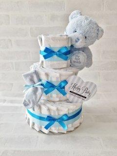 1stテディ 3段オムツケーキ baby boy ベビーギフト 男の子 送料無料