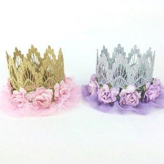 Ballerina flower crown ゴールド&ピンク シルバー&ラベンダー/ベビー/キッズ/ヘアアクセサリー/ドレス小物/王冠