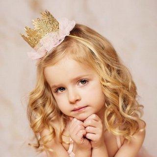 Ballerina tutu crown ゴールド&ピンク シルバー&ブルー/ベビー/キッズ/ヘアアクセサリー/ドレス小物/王冠