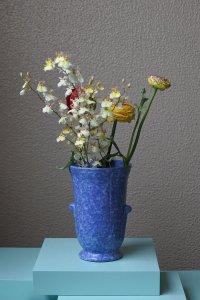SOLD blue & white mix vase / ブルーとホワイトミックスの広口の花器