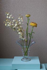 SOLD Fan motif glass vase / 扇型のガラスの花器