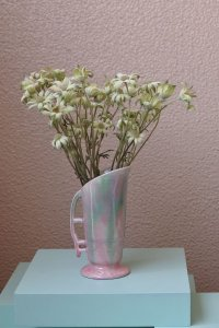 SOLD Pale pink and green mixed colour small vase / 淡いピンクとグリーンのミニ花器