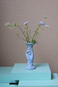 SOLD Hand motif vase / 手のモチーフ縦長の花器