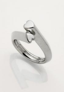 long shaped heart ring silver