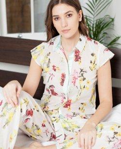 Cottonreal   柔らかなコットンバチスト・アイリス花柄パジャマ【綿100%】半袖
