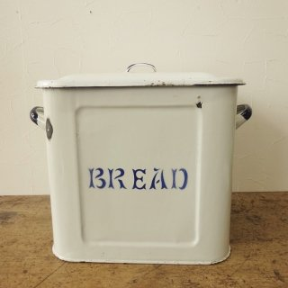 イギリス ヴィンテージ ホーローブレッド缶 ブルーリム 花文字