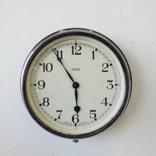 イギリス アンティーク スミス社 小型防塵時計 バス時計 機械式ムーブメント 動作良好